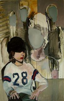 Frau, Mütze, Malerei,