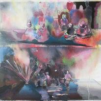Gruppe, Explosion, Klassenbild, Malerei