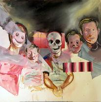 Gruppe, Schädel, Familie, Malerei