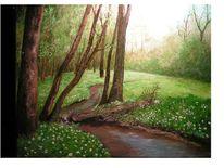 Wiese, Wald, Bach, Malerei