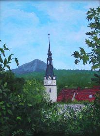 Schachthalte, Laub, Stadtmauer, Kirche