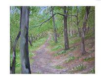Frühling, Waldweg, Malerei,