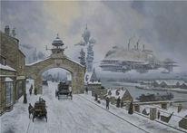 Schiff, Hafen, Stadt, Schnee