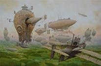 Luftschiff, Landschaft, Luftschiffe, Steampunk