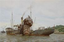 Meer, Schiff, Steampunk, Dampf