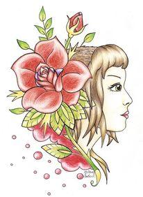 Skinhaedgirl, Rose, Tattoo, Oldschool