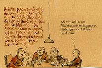 Reaktion, Dialog, Wetter, Zeichnungen