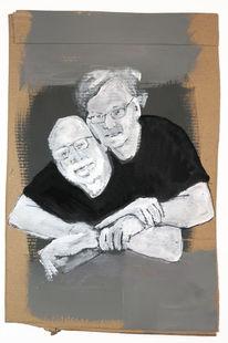 Mann, Freundschaft, Umarmung, Malerei