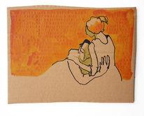 Orange, Mann, Frau, Zeichnungen