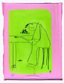 Tisch, Stuhl, Essen, Zeichnungen