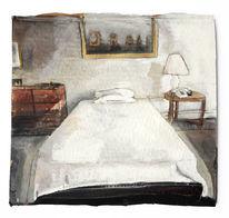 Bett, Raum, Schlaf, Malerei