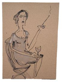 Weinglas, Sitzen, Frau, Rauchen