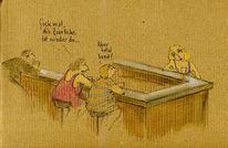 Bar, Frau, Ideal, Zeichnungen