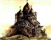 Architektur, Kirche, Aquarell