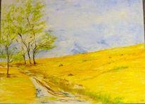 Frühling, Stille, Ölmalerei, Klang