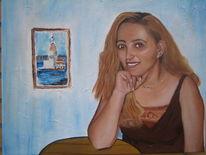 Portrait, Frau, Ölmalerei, Malerei