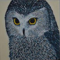Acrylmalerei, Eule, Tiere, Malerei