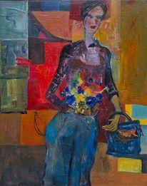 Blumenstrauß, Frau in hose, Farbmosaik, Tasche