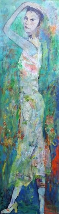 Seitenansicht, Grün, Frau, Malerei