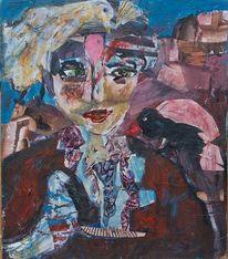 Vogel, Kleinformatig, Portrait, Mischtechnik