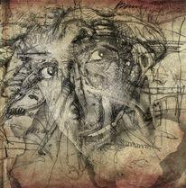 Federzeichnung, Selbstportrait, Portrait, Mischtechnik