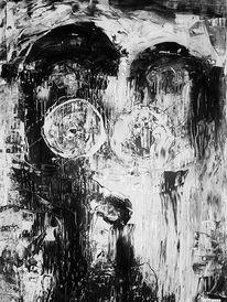 Abstrakt, Acrylmalerei, Weiß, Bombe
