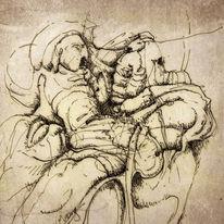 Federzeichnung, Erlkönig, Tuschmalerei, Zeichnungen