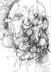 Chaos, Verwirrung, Tusche, Federzeichnung