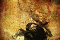 Tuschezeichnung, Putz, Acrylmalerei, Abstrakt