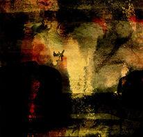 Abstrakt, Wolfsschlucht, Dunkel, Acrylmalerei