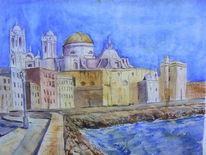 Kathedrale, Strandpromenade, Cadiz, Aquarellmalerei