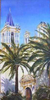Sommer, Kirche, Palmen, Südspanien