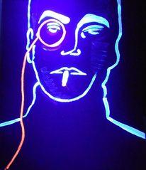 Neonfarben, Schwarzlicht, Mann, Monokel