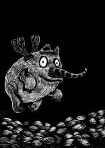 Zeichnung, Schwarz weiß, Modern, Monster