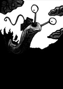Zeichnung, Schwarz weiß, Monster, Modern