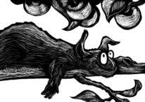 Modern, Zeichnung, Schwarz weiß, Monster