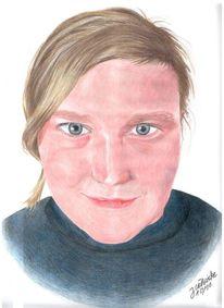 Zeichnung, Kopf, Gesicht, Polychromos