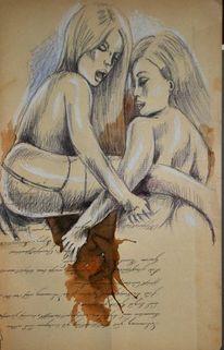 Akt, Pastellmalerei, Weiblich, Grafik