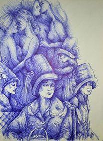Zeichnung, Grafik, Skizze, Aquarellmalerei