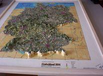Landkarte, Modellieren, Gips, Spachteltechnik