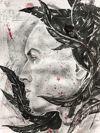 Gesicht, Portrait, Aquarellmalerei, Rot