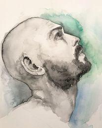 Wasserfarbe, Bart, Grafik, Portrait