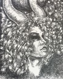 Monochrom, Zeichnung, Portrait, Gesicht