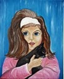 Kind, Katze, Fröhlichkeit, Malerei