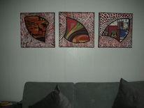 Triptychon, Kn17, Mischtechnik,