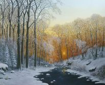 Romantik, Bach, Feinmalerei, Schnee