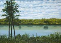 Baum, Blau, Acrylmalerei, Wasser