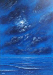 Wolken, Meer, Nacht, Mond