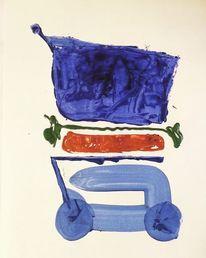 Fleisch, Salat, Einkaufswagen, Malerei
