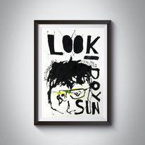 Blick, Schwarz, Brille, Tusche